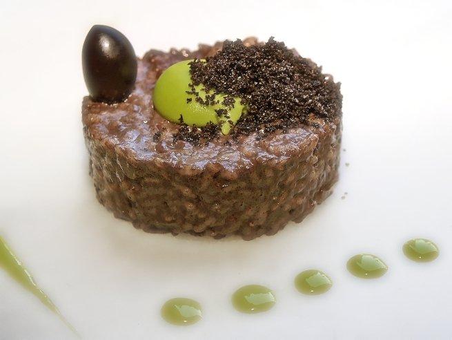 Arroz olivas del Bajo Aragón con albahaca del restaurante Lillas Pastia