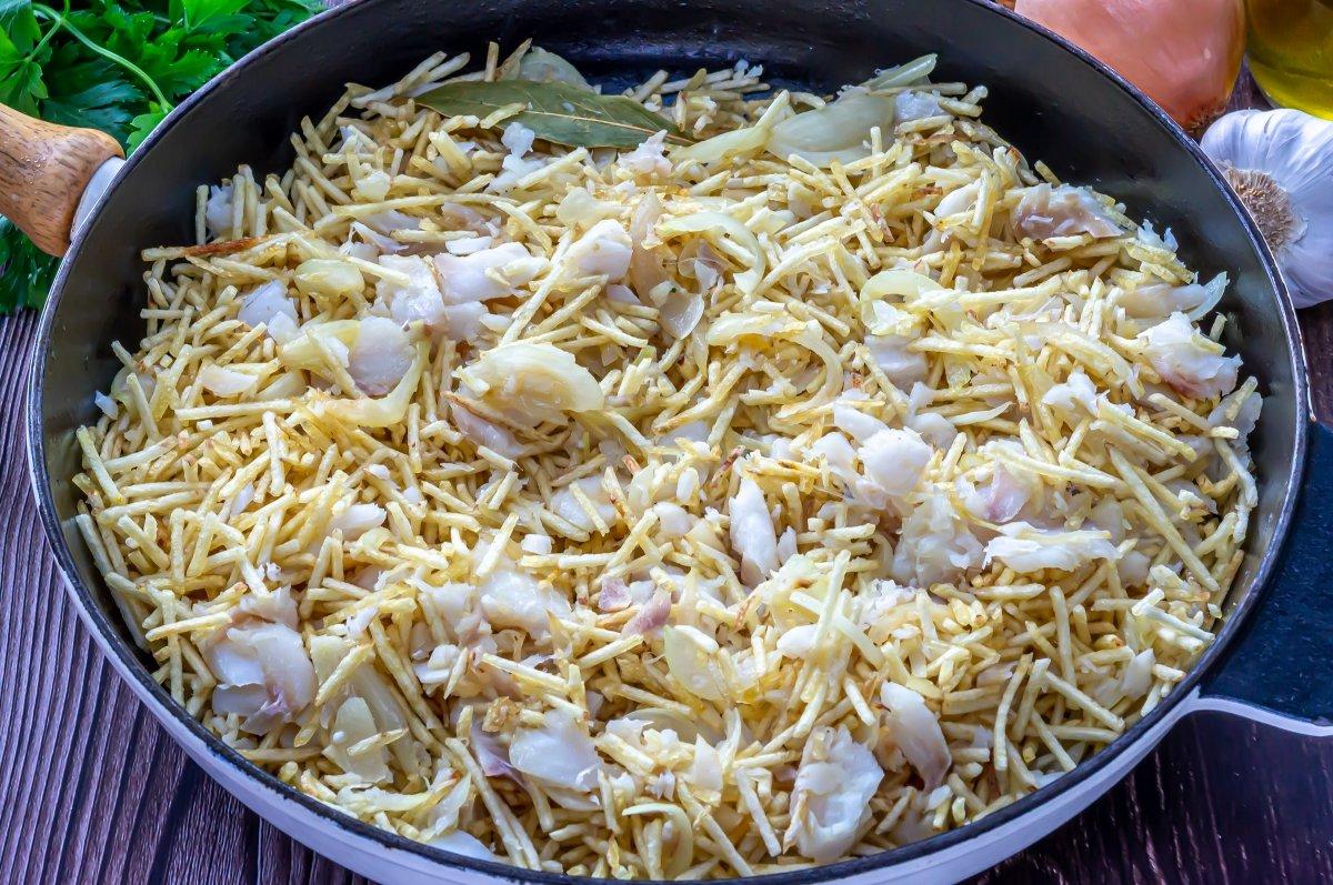 Bacalao dorado (patatas paja)