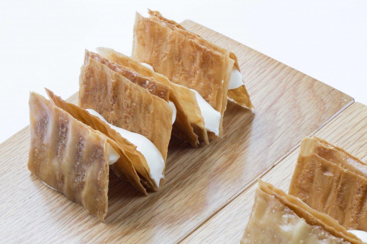 Bocadillo crujiente de quesos asturianos de Casa Gerardo