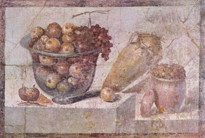 Bodegón con frutas y flores en un mural de Pompeya del 70 d. C.