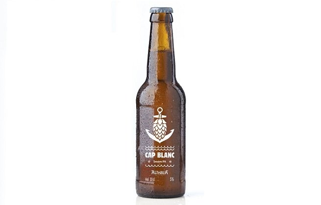 Botella de cerveza Cap Blanc, la session IPA de Althaia Artesana