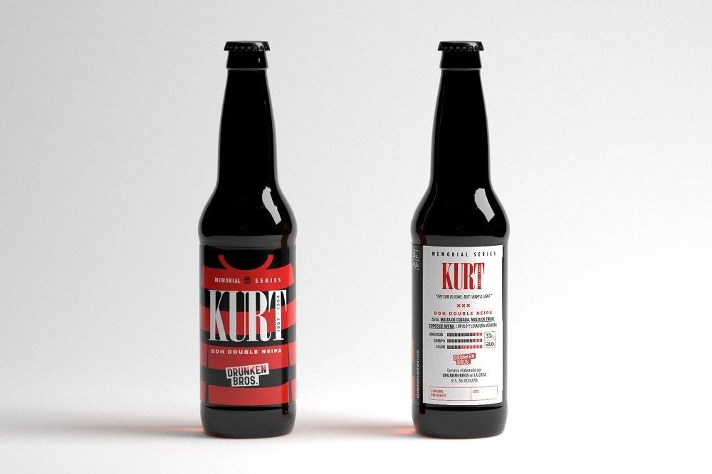 Botella de Kurt por delante y por detrás