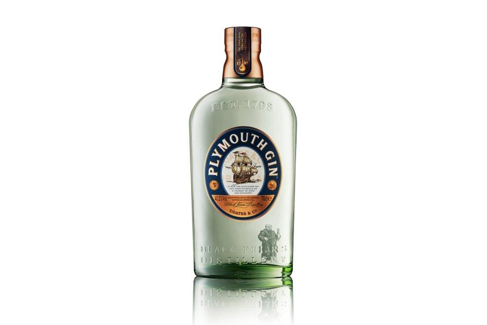Botella de la ginebra Plymouth