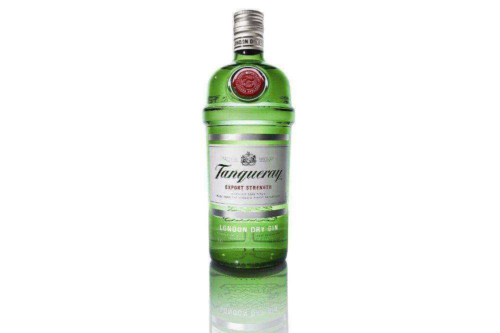 Botella de la ginebra Tanqueray