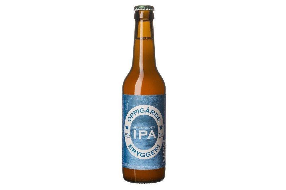 Botella de New Sweden IPA  sobre fondo blanco
