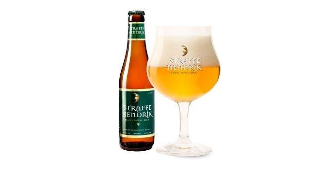 Botella y copa de Straffe Hendrik Tripel