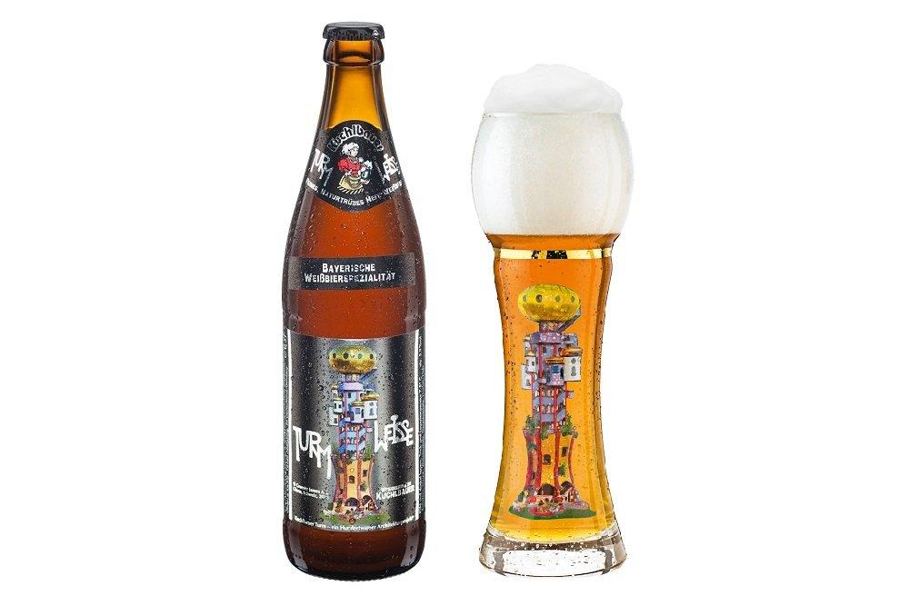Botella y vaso de Kuchlbauer Turmweisse