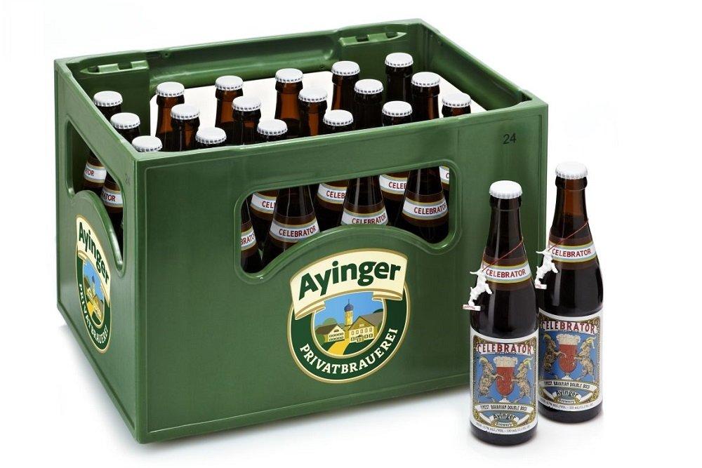 Caja y botellas de Ayinger Celebrator