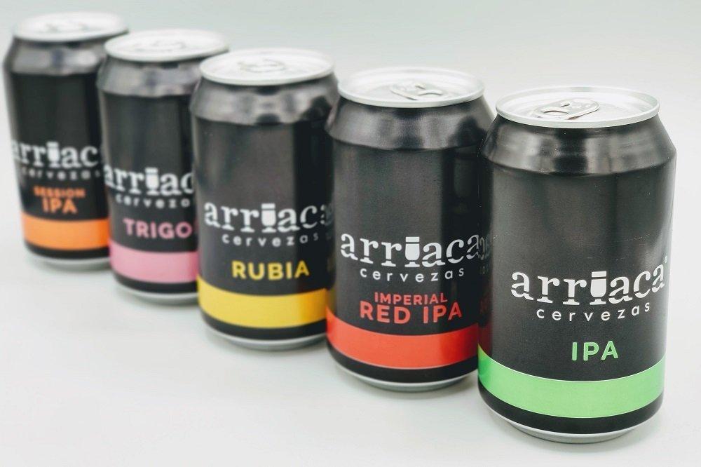 Cinco variedades enlatadas de Cervezas Arriaca