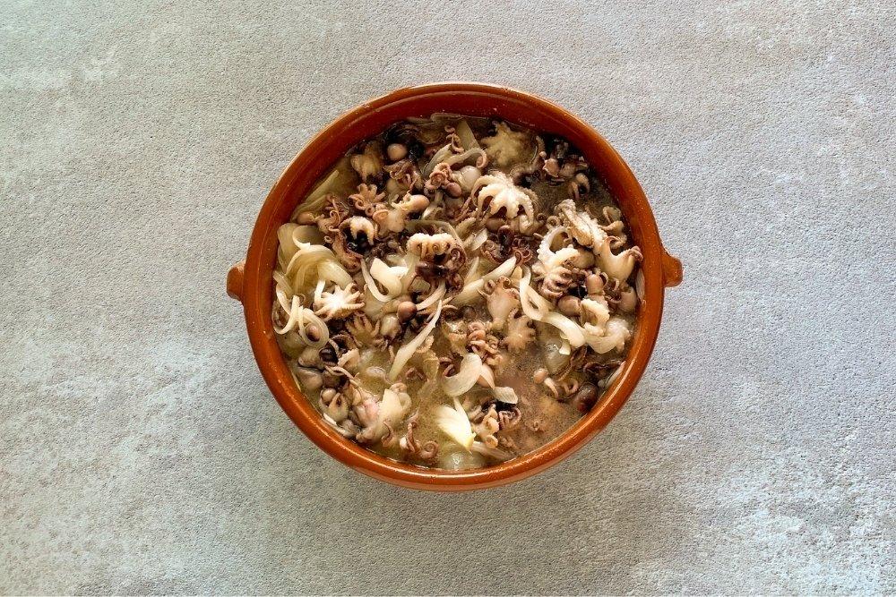 Cocción de pulpitos 60 minutos en la cazuela