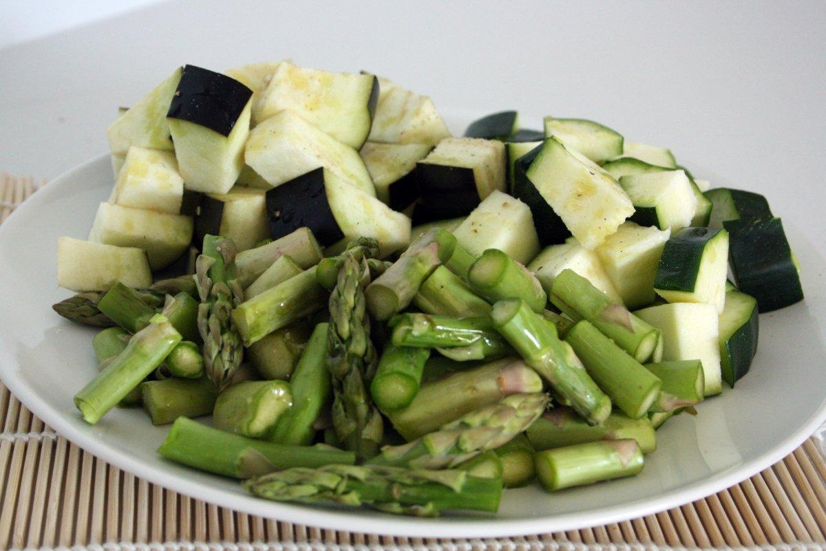 Cortar todas las verduras