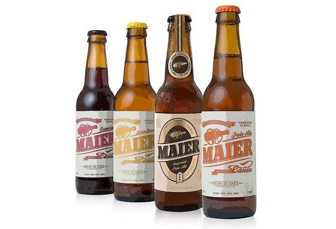 Cuatro variedades de Cervezas Maier, incluyendo su Maier Especial