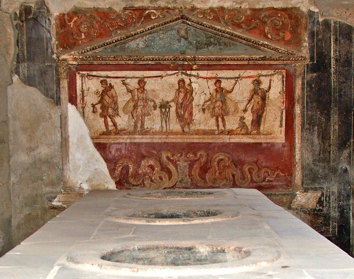 Detalle de los frescos conservados en el Termopolio de Asellina