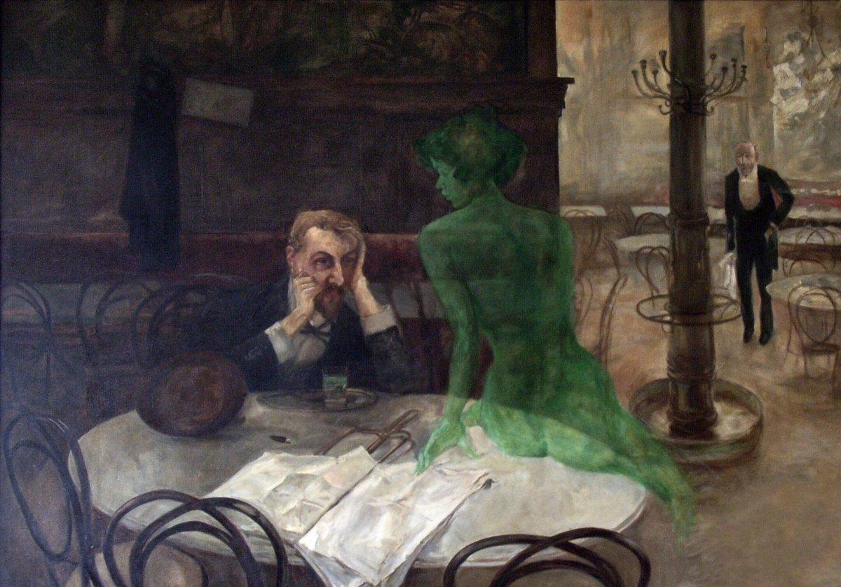 El bebedor de absenta, un cuadro de Viktor Oliva