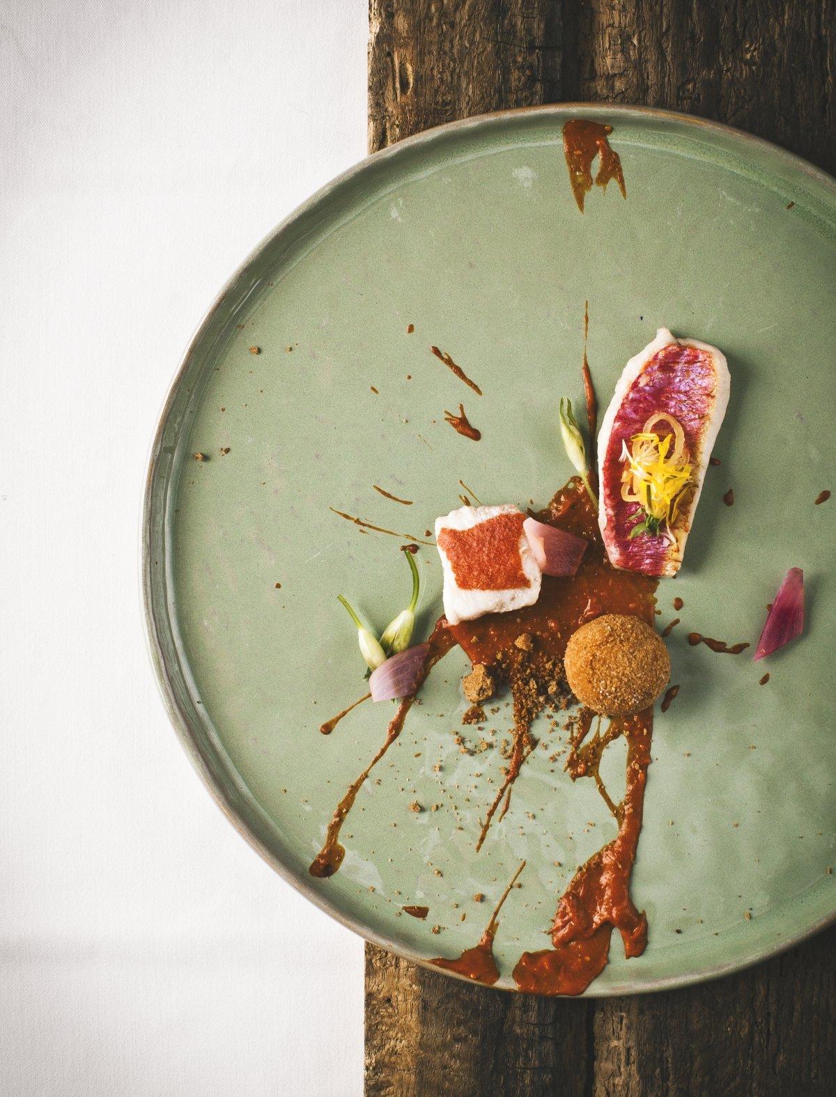 Espectacular presentación de uno de los platos del restaurante Hisa Franko