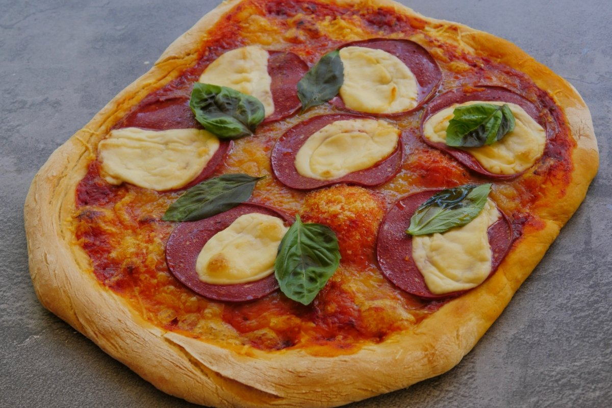 Foto de la pizza vegana finalizada