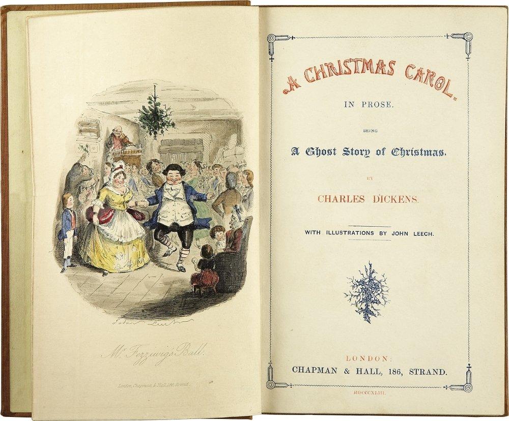 Frontispicio de la primera edición de Cuento de Navidad de Charles Dickens, año 1843