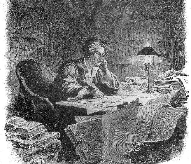 Grabado de Alejandro Dumas escribiendo