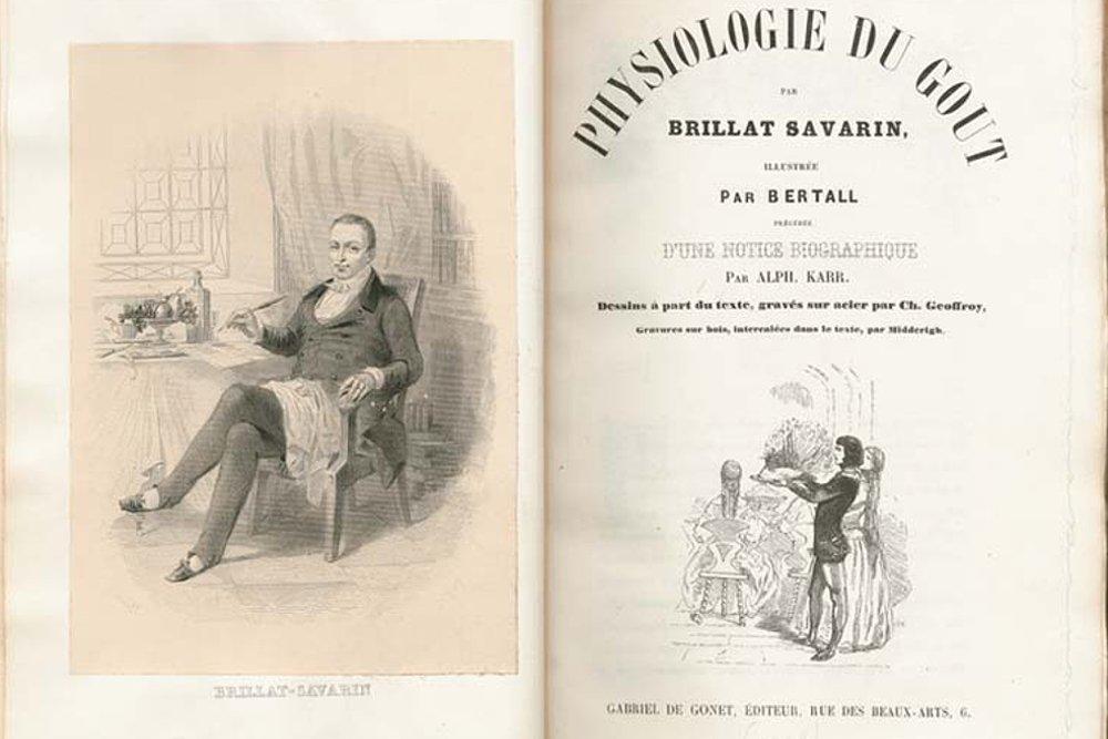 Grabado de Jean Anthelme Brillat-Savarin y portada interior de su obra 'Fisiología del gusto'