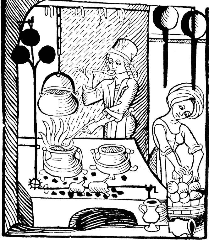 Grabado medieval de una cocina
