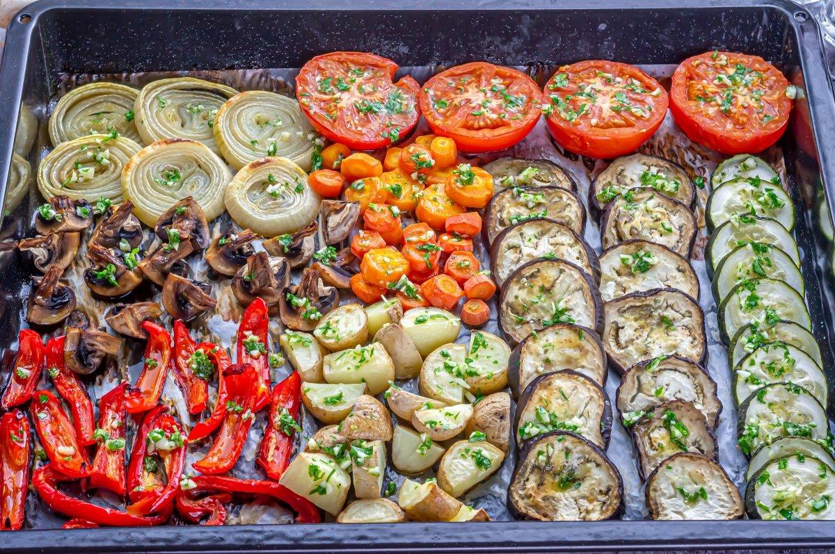 Hornear las verduras