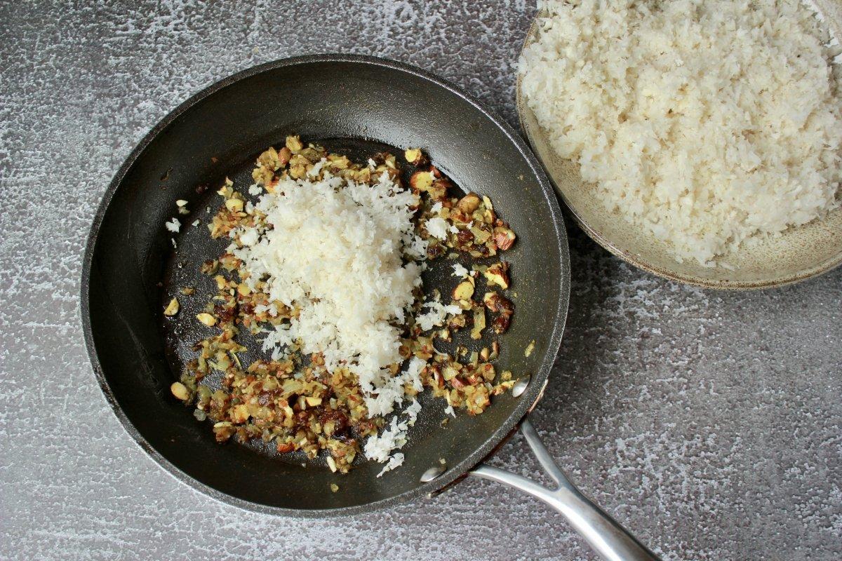 Incorporación del cuscús de coliflor a la elaboración