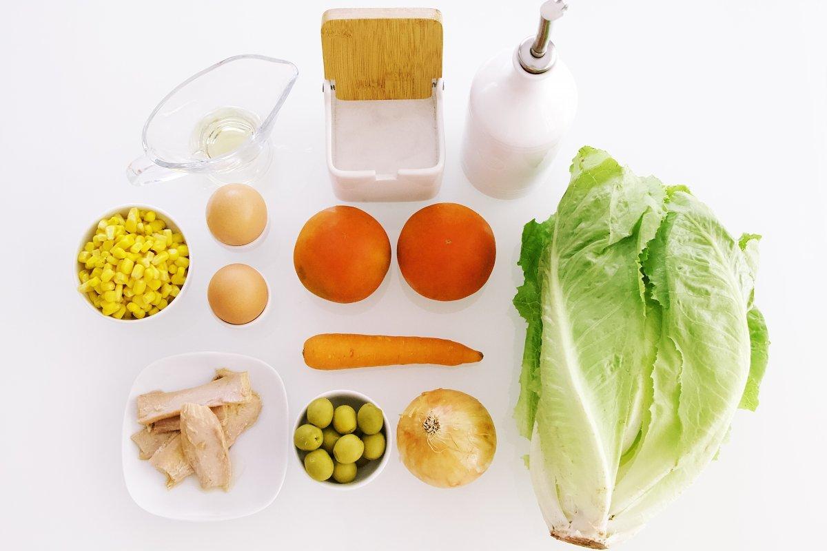 Ingredientes de la ensalada mixta