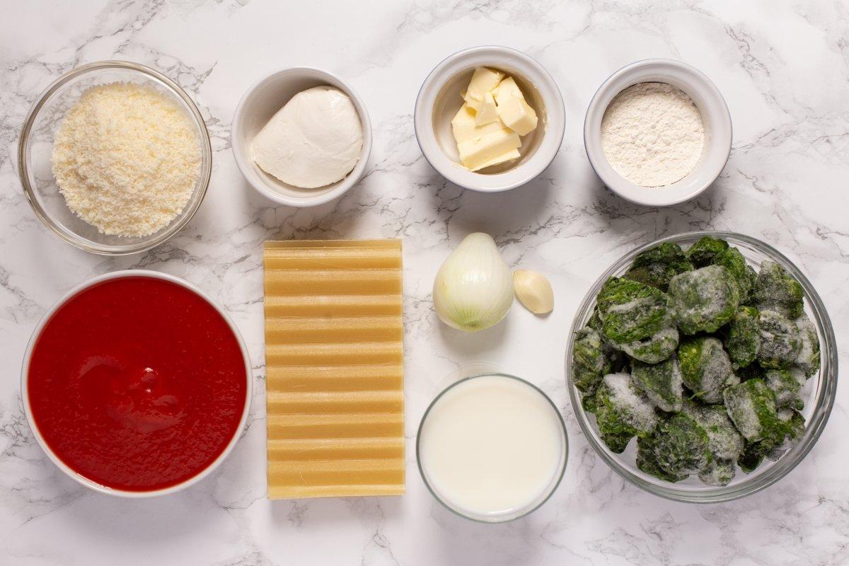 Ingredientes de la lasaña de espinacas