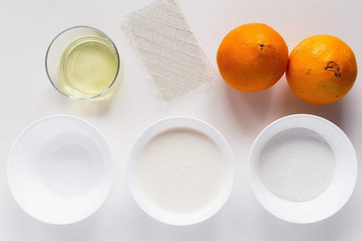 Ingredientes de la mousse de naranja