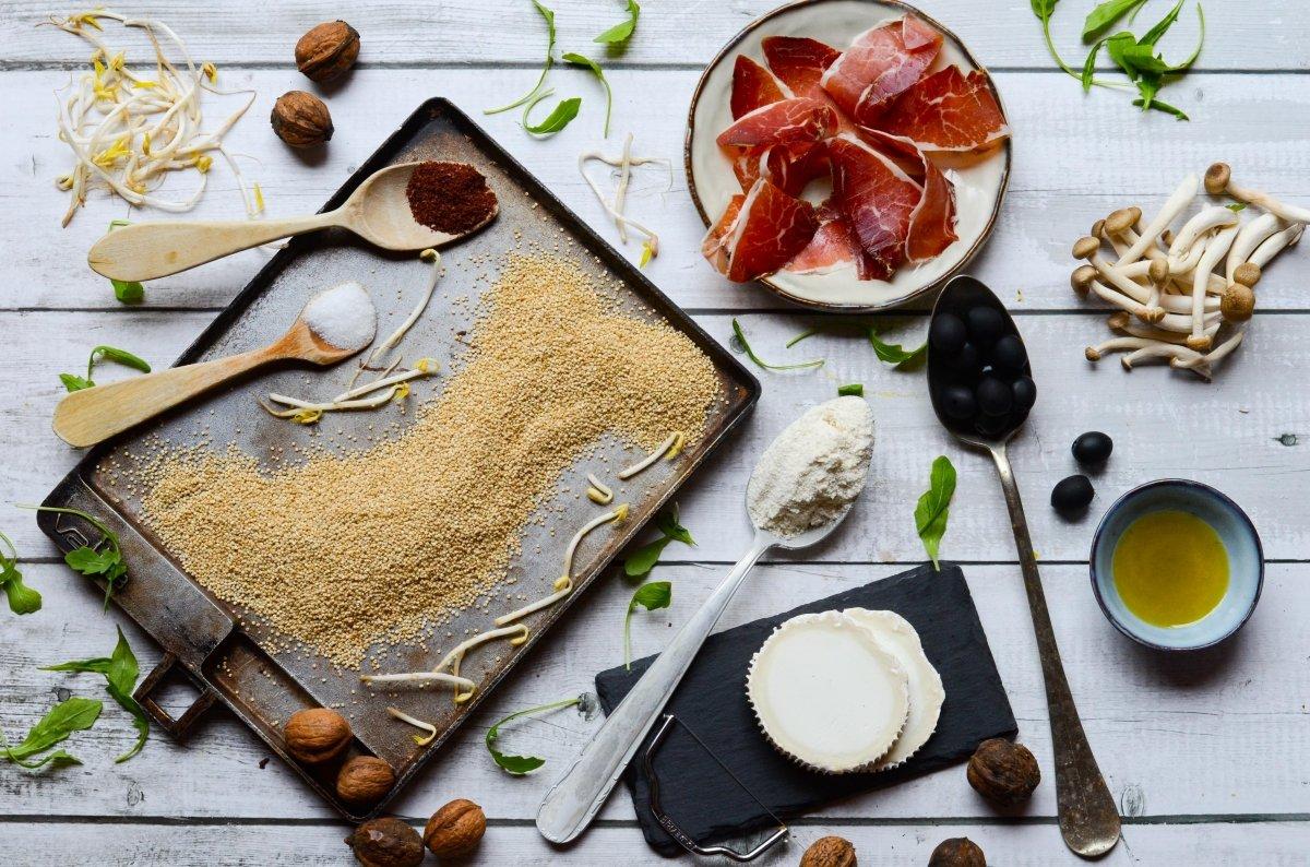 Ingredientes de la pizza de quinoa