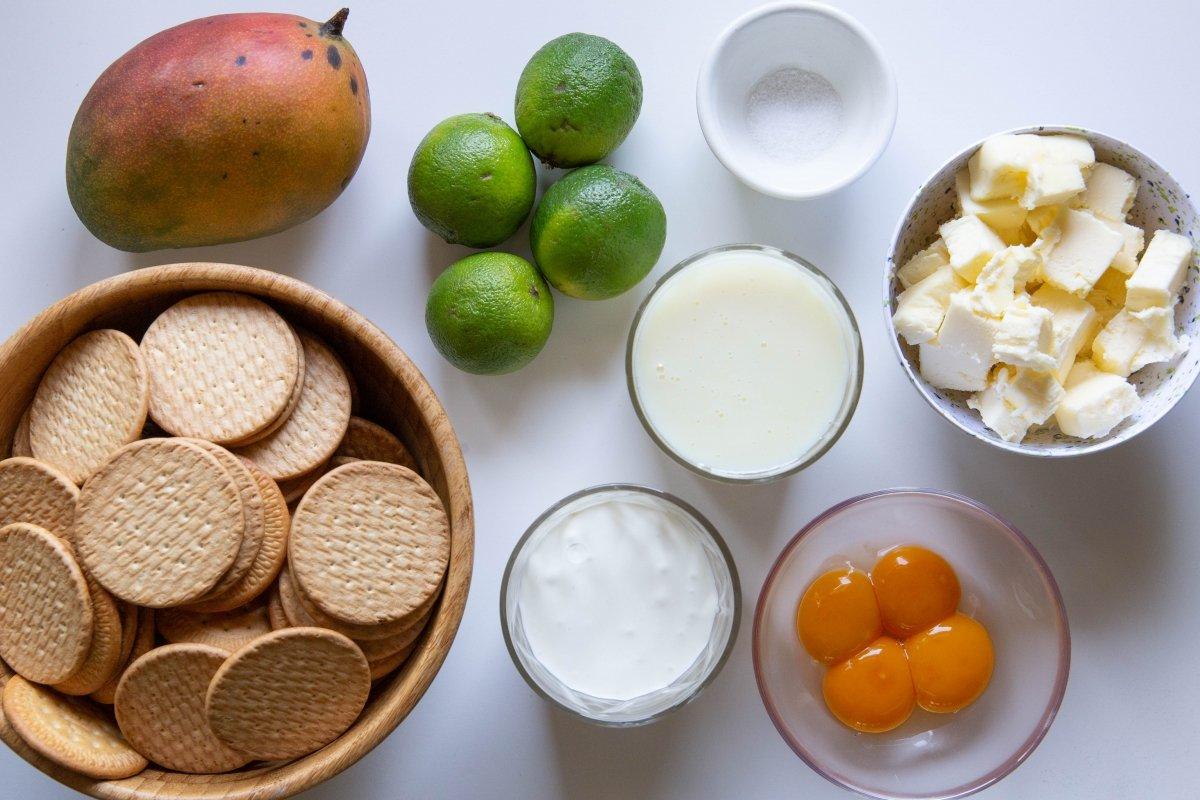 Ingredientes de la tarta de lima y mango