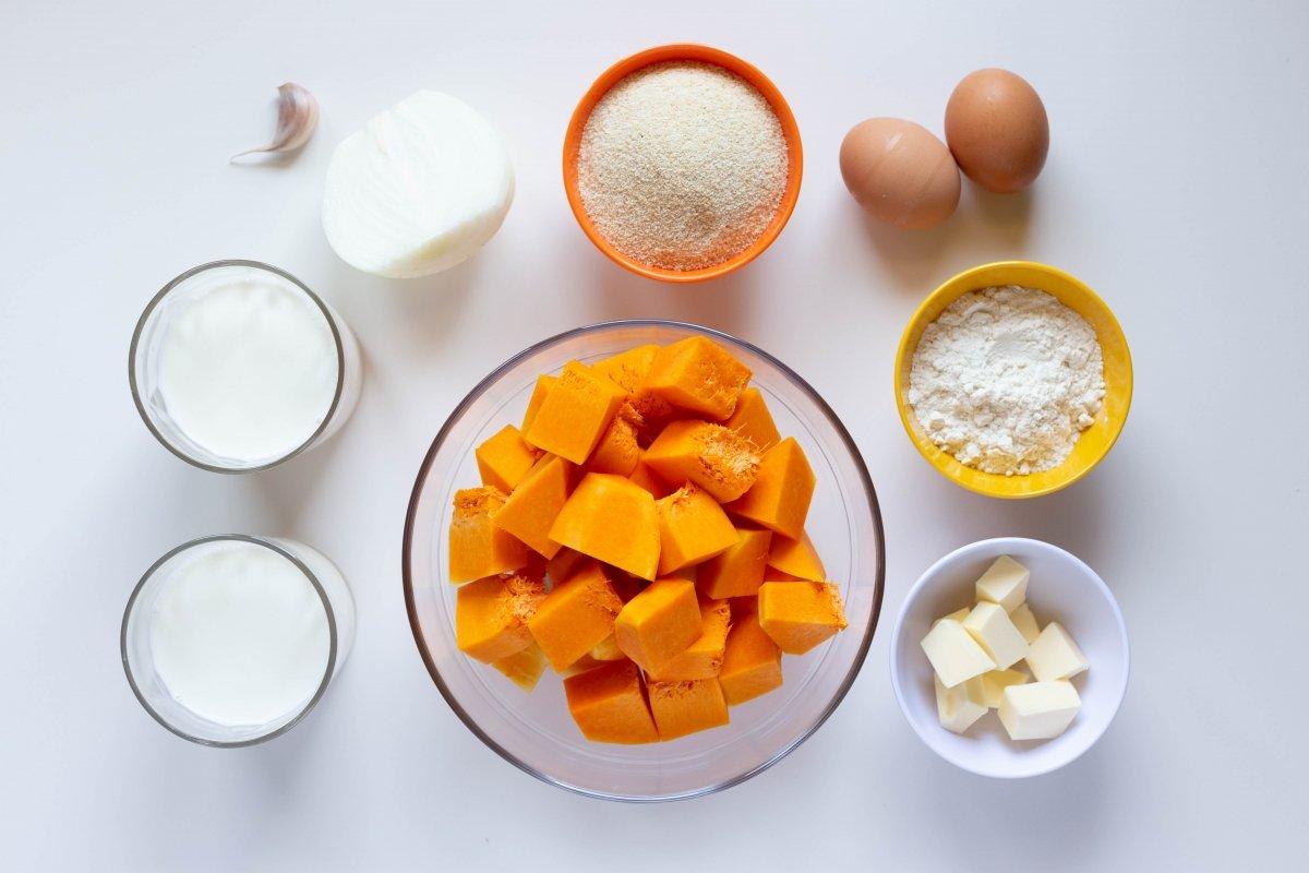 Ingredientes de las croquetas de calabaza