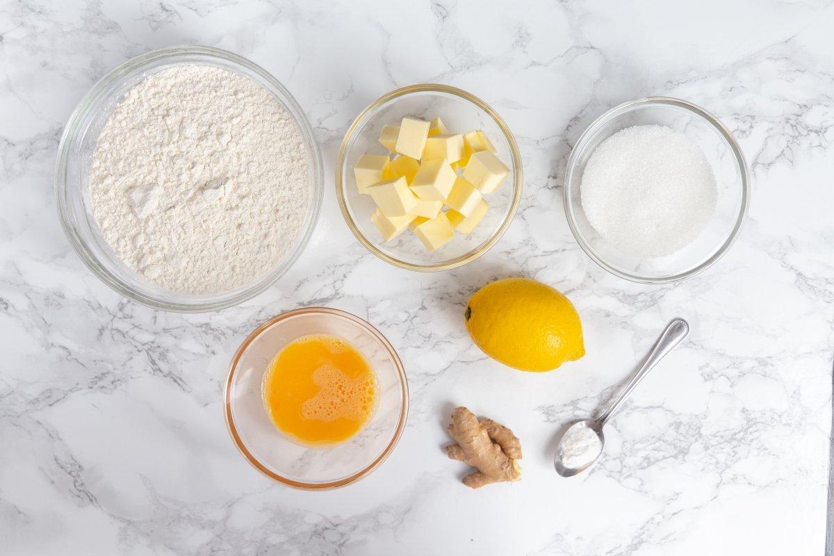 Ingredientes de las galletas de limón y jengibre