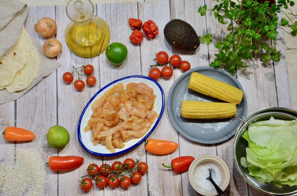 Ingredientes de los burritos de pollo