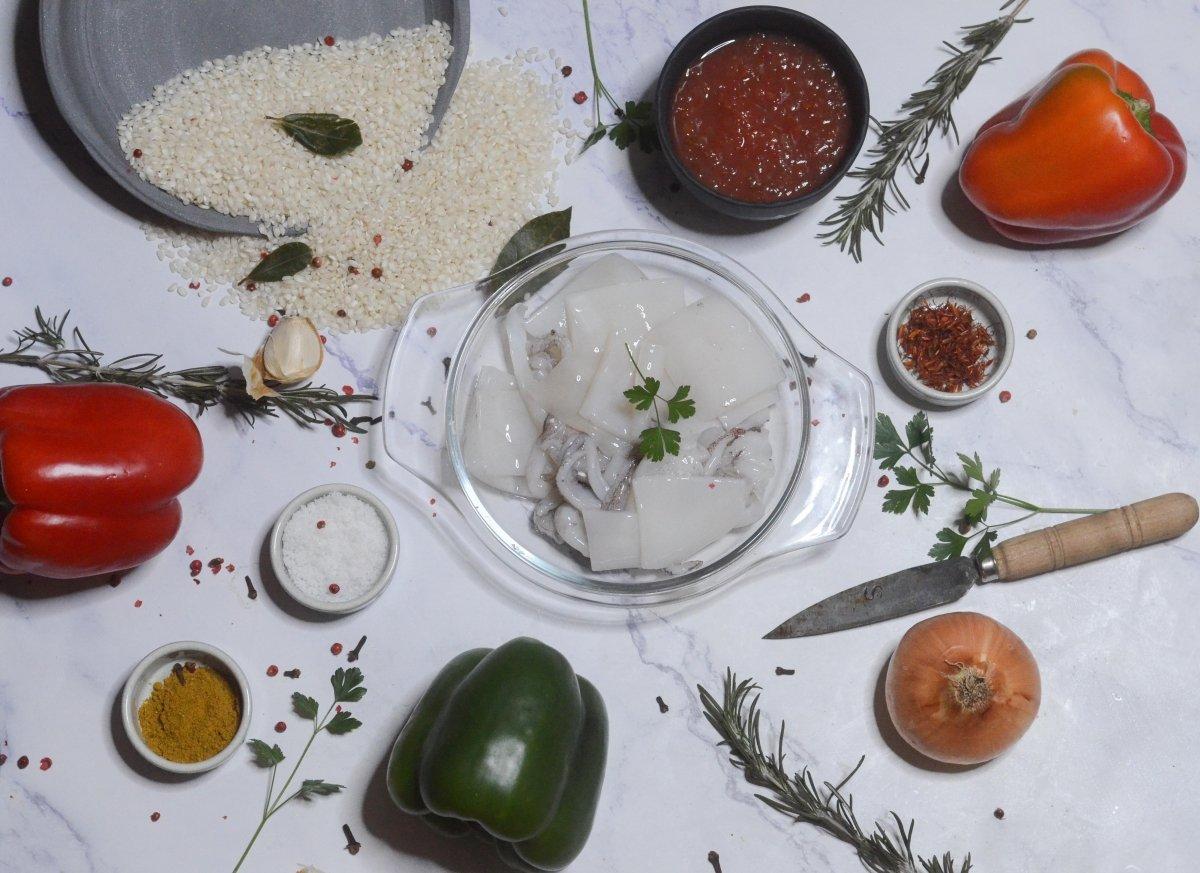 Ingredientes de los pimientos rellenos de arroz