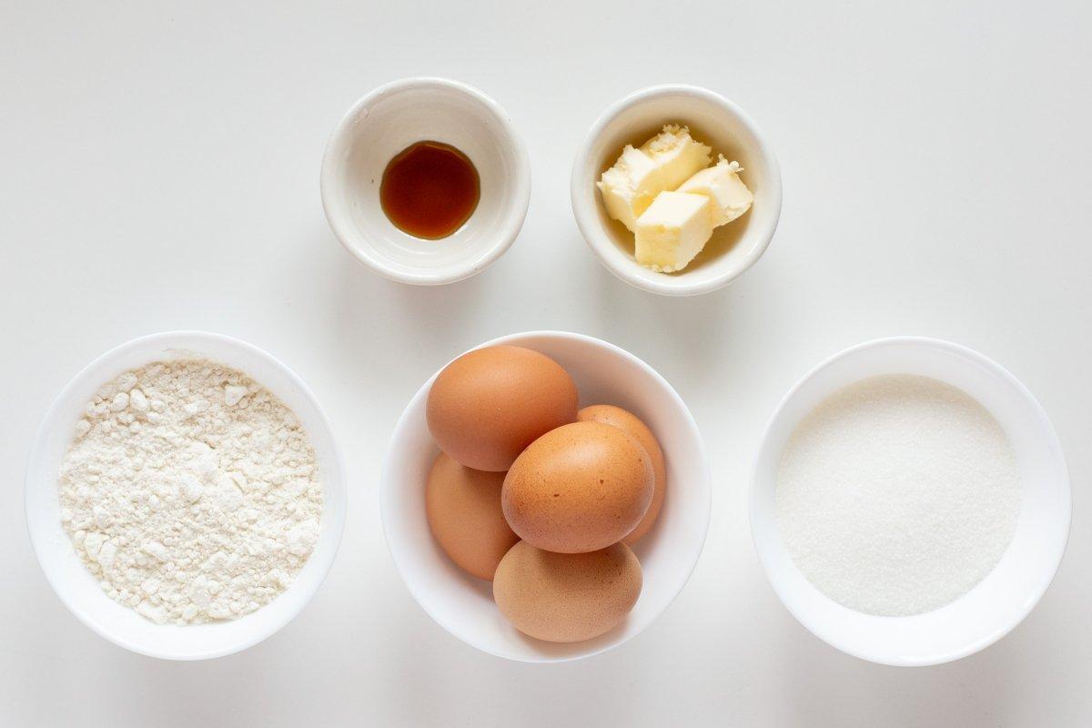 Ingredientes del bizcocho genovés