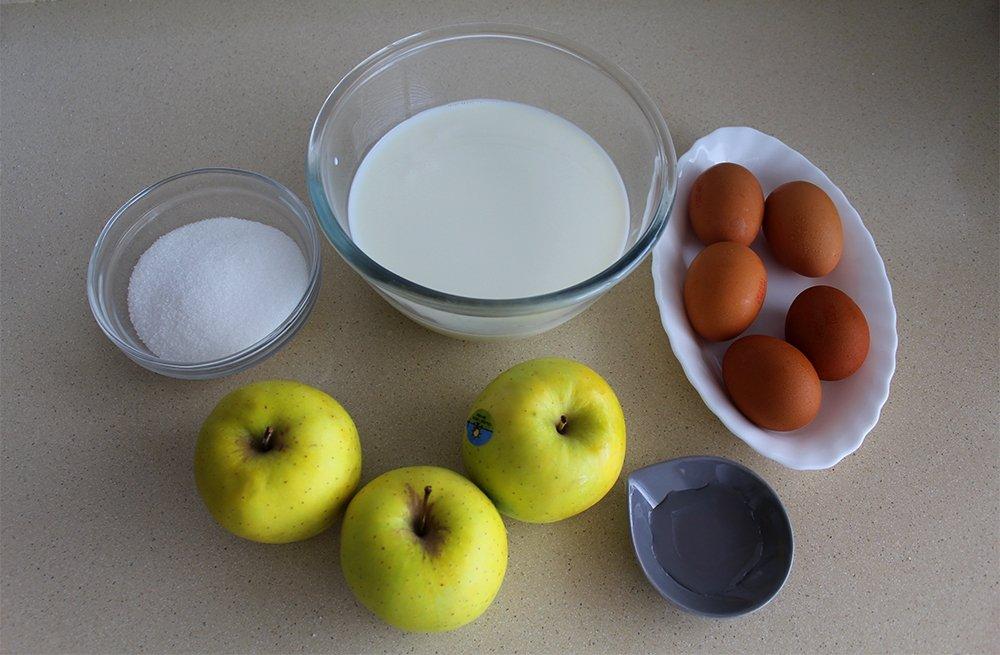 Ingredientes del flan de manzana