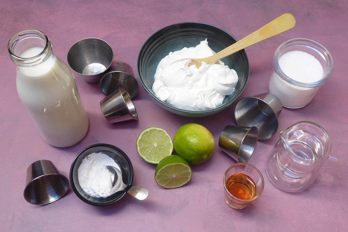 Ingredientes del flan de mascarpone