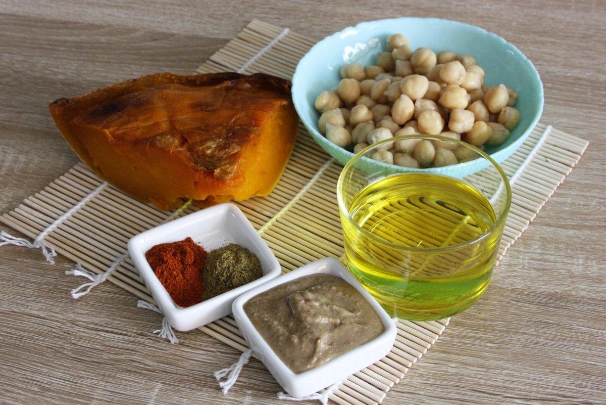 Ingredientes del hummus de calabaza asada