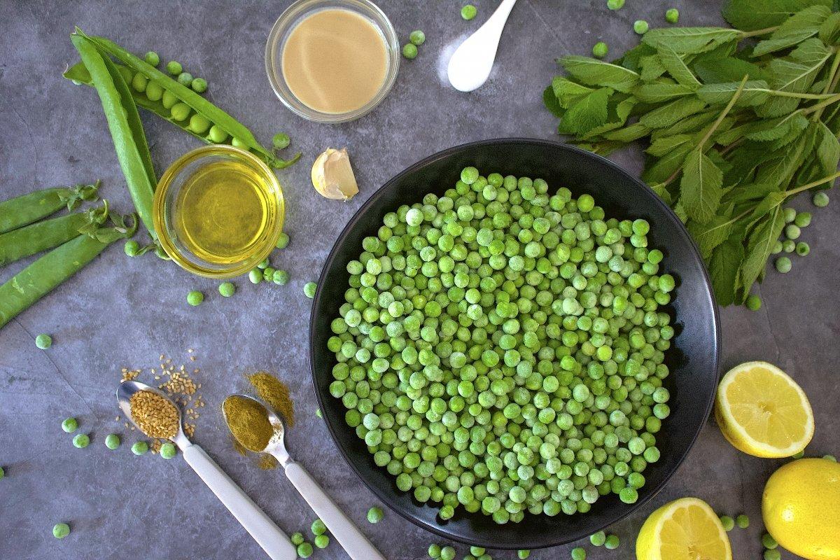 Ingredientes del hummus de guisantes