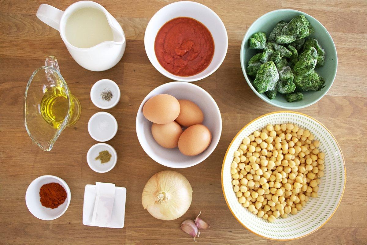 Ingredientes del potaje de garbanzos y espinacas