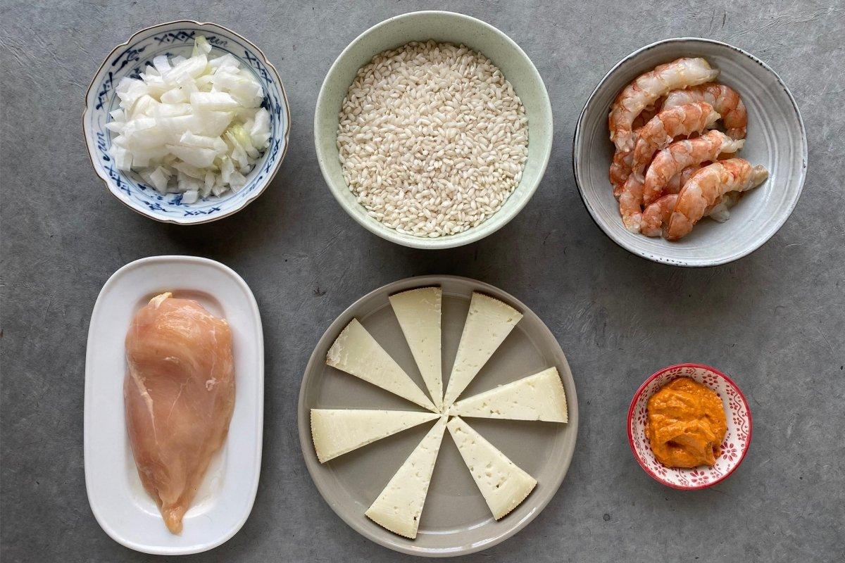 Ingredientes del risotto mare e monte