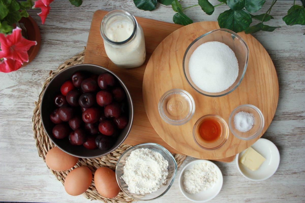 Ingredientes necesarios para elaborar un clafoutis o tarta de cerezas