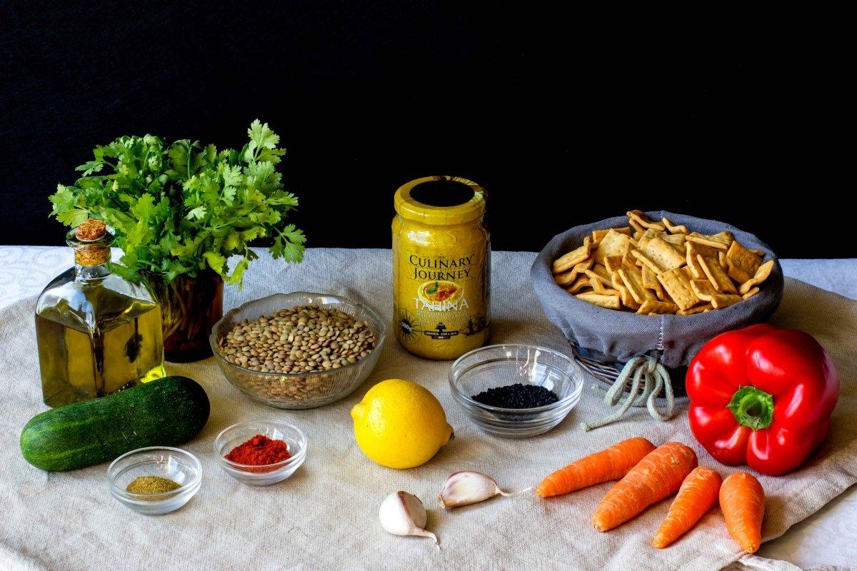 Ingredientes necesarios para hacer el hummus de lentejas