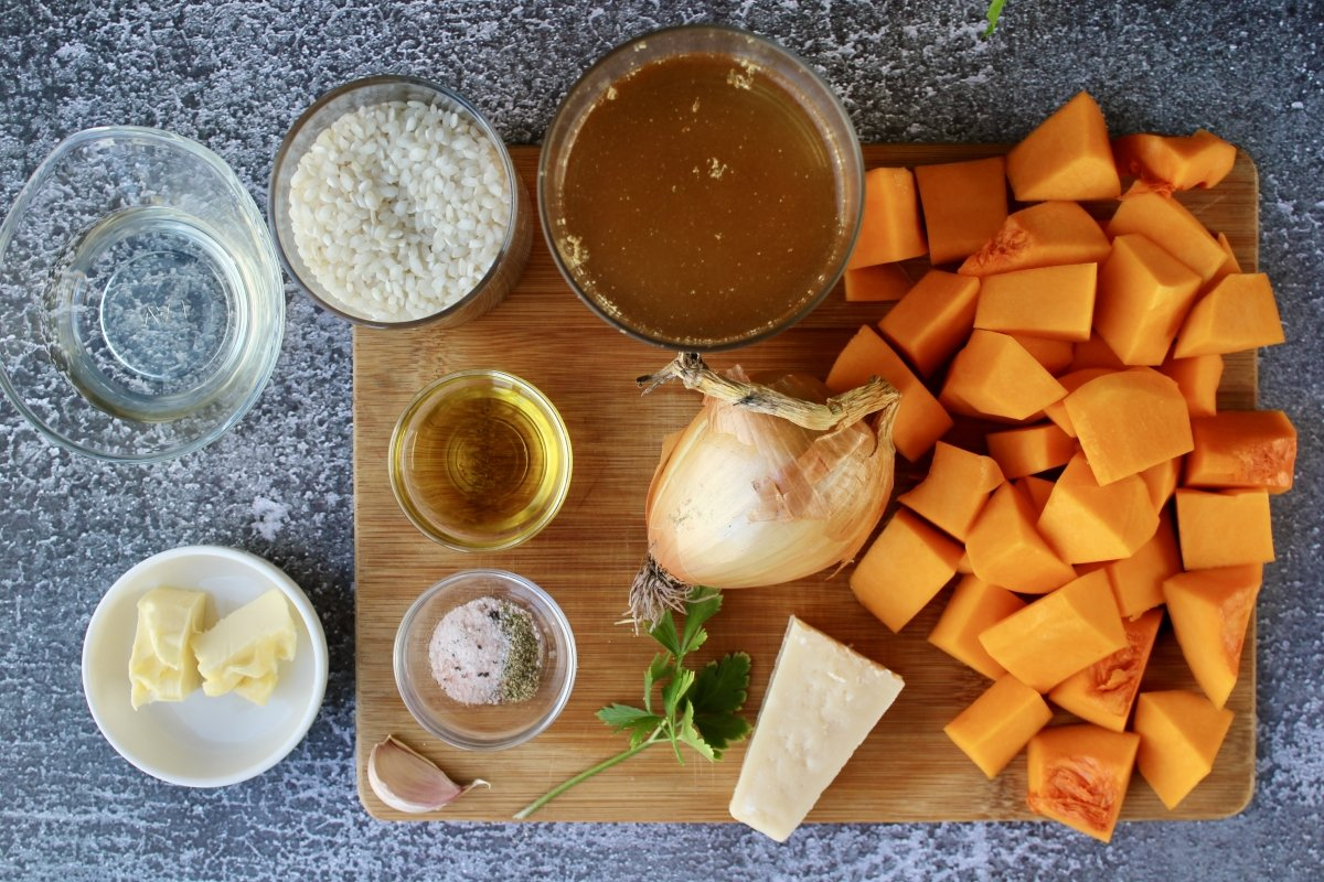 Ingredientes necesarios para hacer un risotto de calabaza