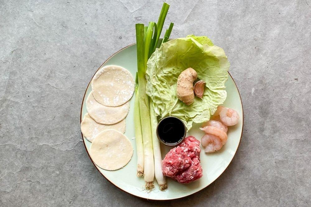Ingredientes para cocinar gyozas tradicionales