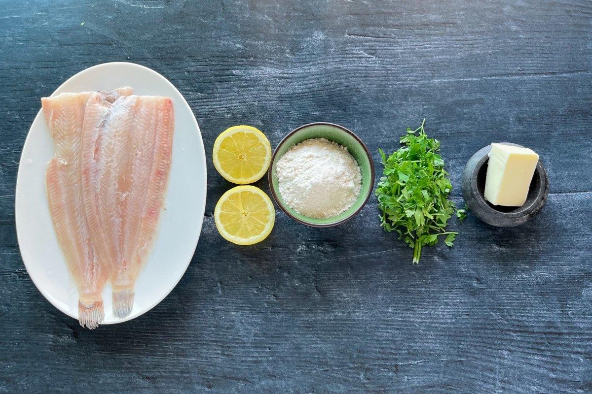 Ingredientes para cocinar Lenguado Meuniere