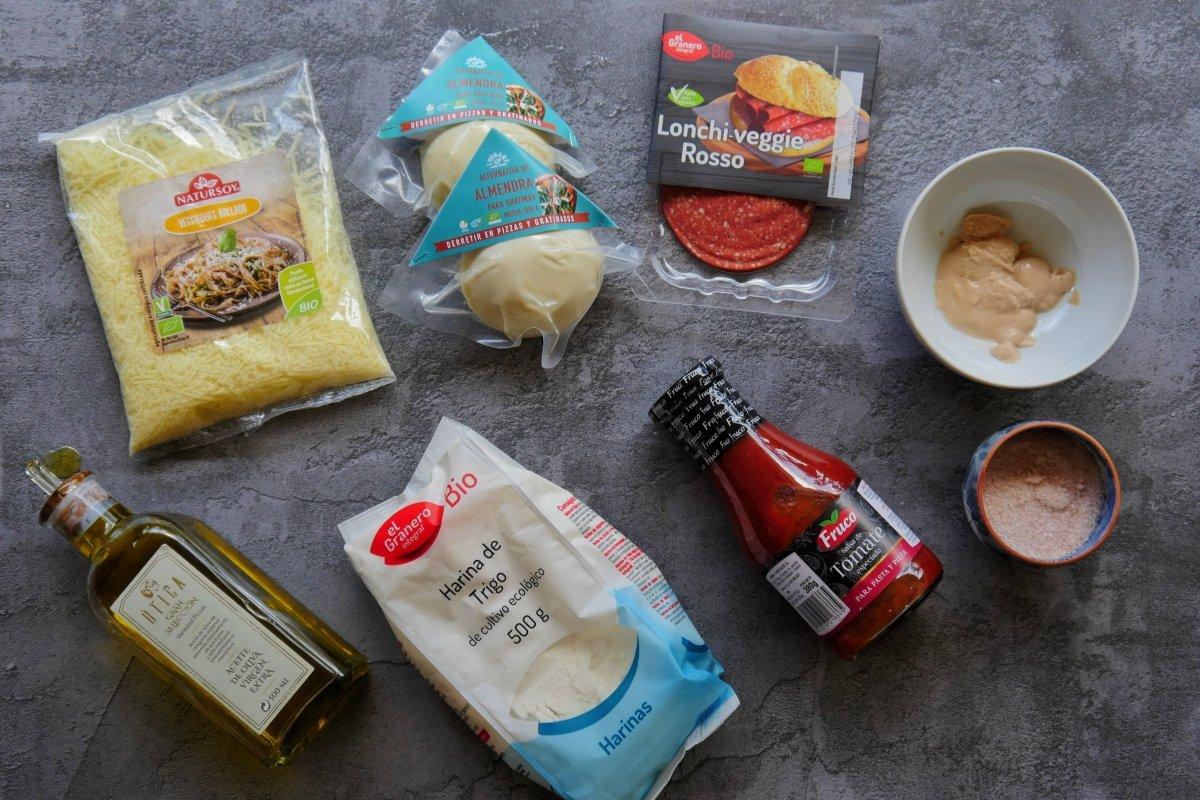 Ingredientes para cocinar pizza vegana