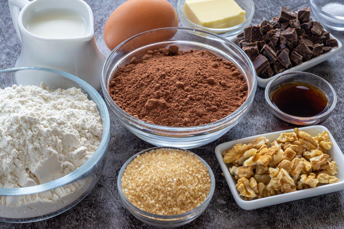 Ingredientes para el brownie a la taza