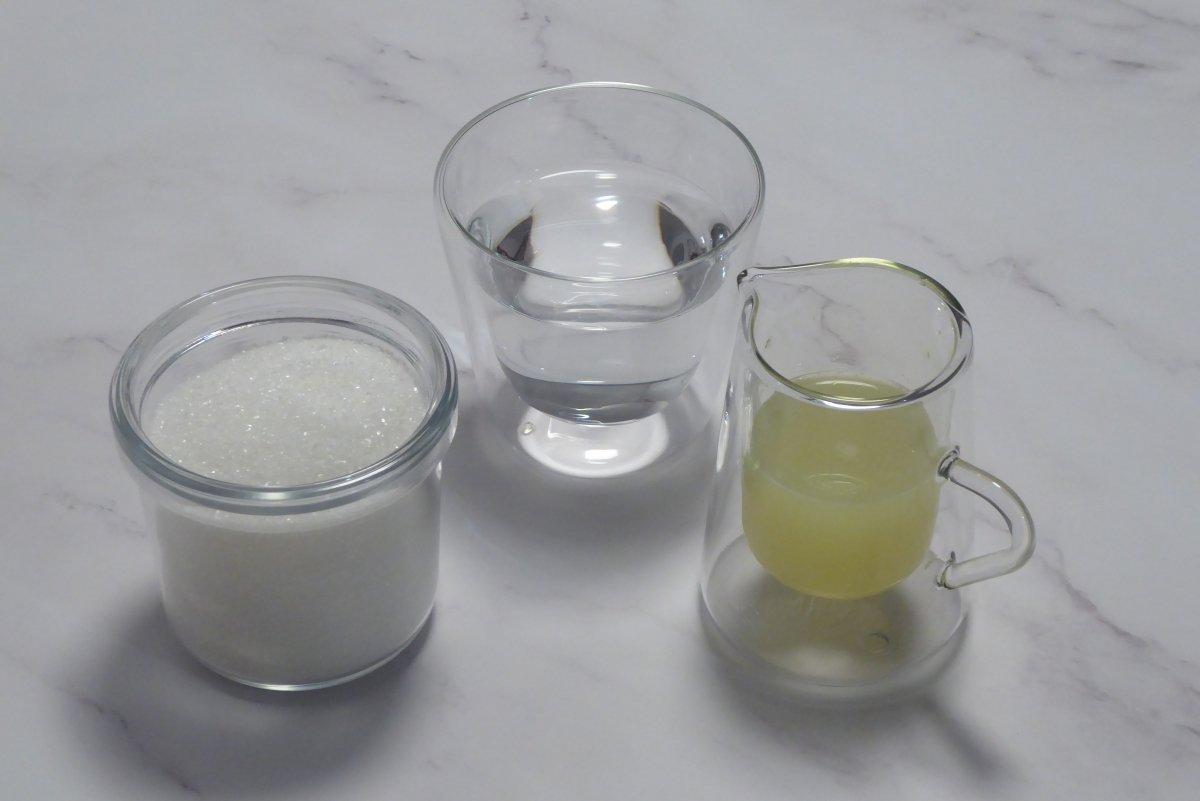 Ingredientes para el caramelo del flan de mascarpone